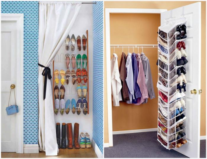 Хранение обуви в спальне.