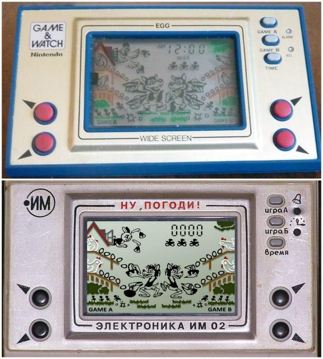Nintendo EG-26 EGG, Япония, 1981 года и Электроника ИМ-02 «Ну, погоди!», СССР, 1984 года.