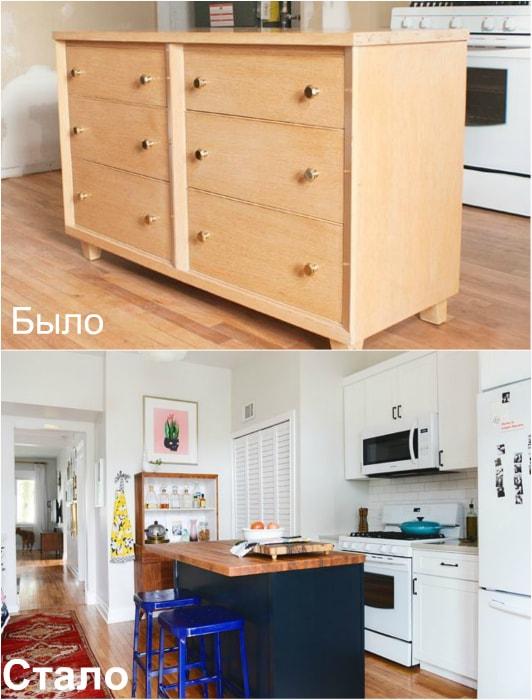 Трансформация комода в кухонный островок.