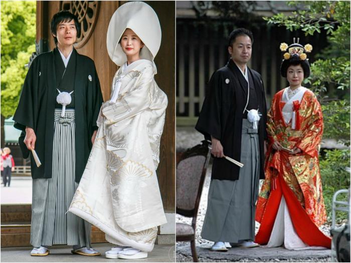 Японские традиционные костюмы жениха и невесты.