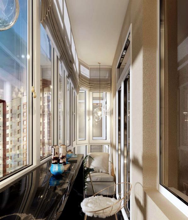 Смесь фактур в интерьере одного балкона. | Фото: Remoskop.ru.