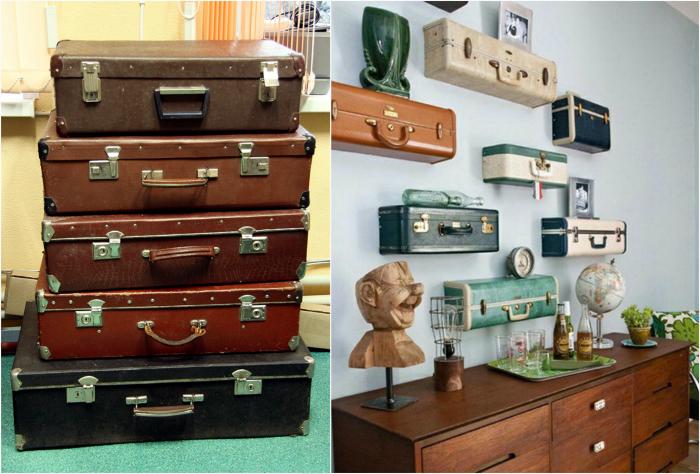 Полки из старых чемоданов.
