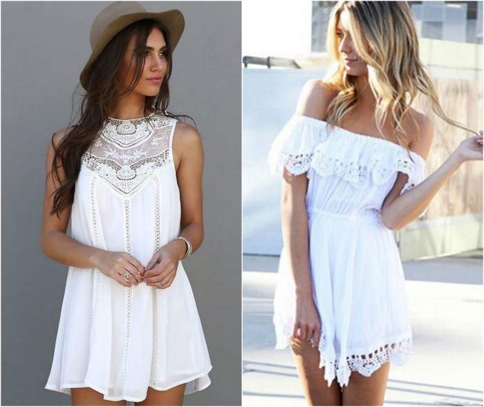 Легкое белое платье.