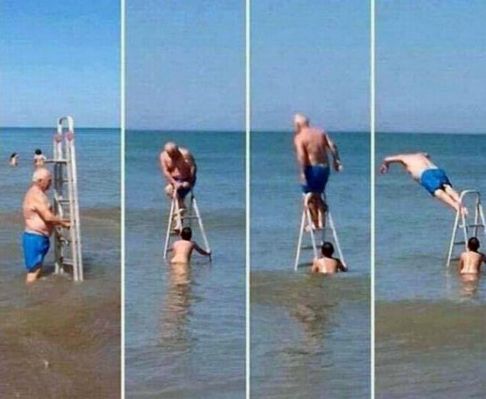 На пляж со своей вышкой.