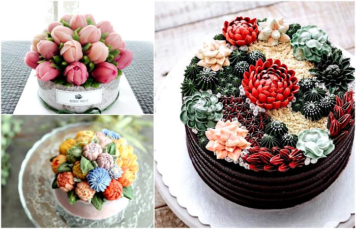 Цветочные торты, которые выглядят, как произведения искусства.