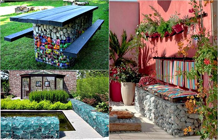 Неповторимые садовые декорации из габионов.