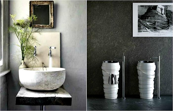 Необычные умывальники в ванную.