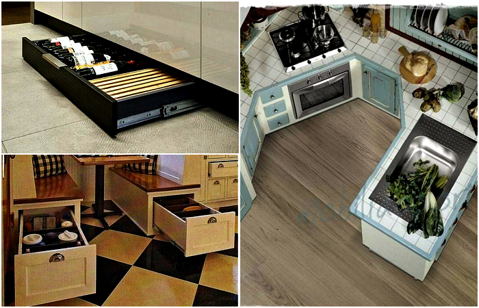 Свежие и нестандартные решения для меблировки маленькой кухни.