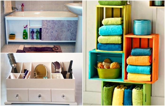 Красивые и доступные системы хранения для ванной комнаты.