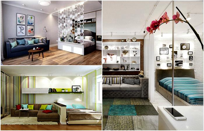 Стильные идеи дизайна гостиной, совмещенной со спальней.
