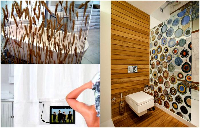 Практичные и оригинальные шторки, которые украсят интерьер ванной комнаты.