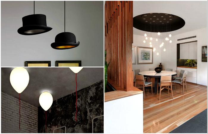 Оригинальные примеры дизайна потолков и светильников.