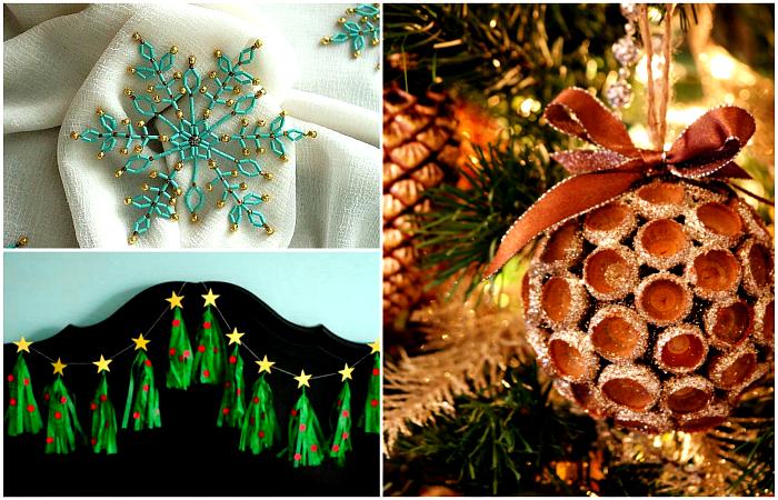 Оригинальные новогодние украшения, сделать которые можно своими руками.