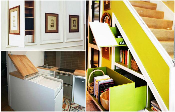 Оригинальные идеи хранения вещей в небольшой квартире.