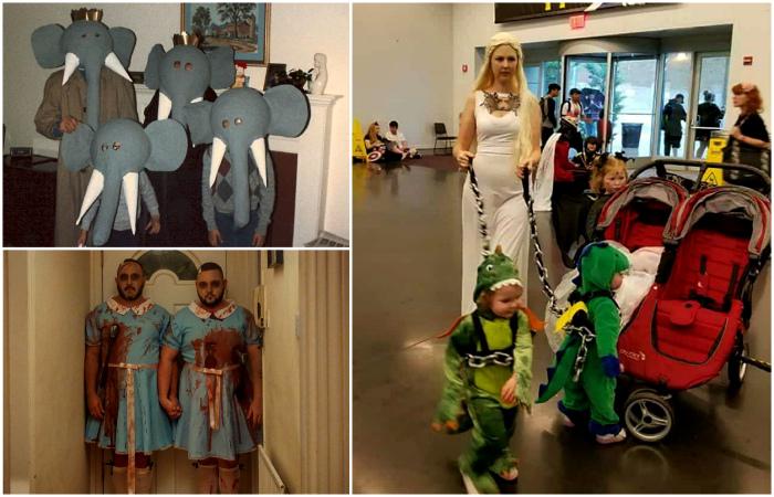 Смешные и пугающие костюмы для Хэллоуина.