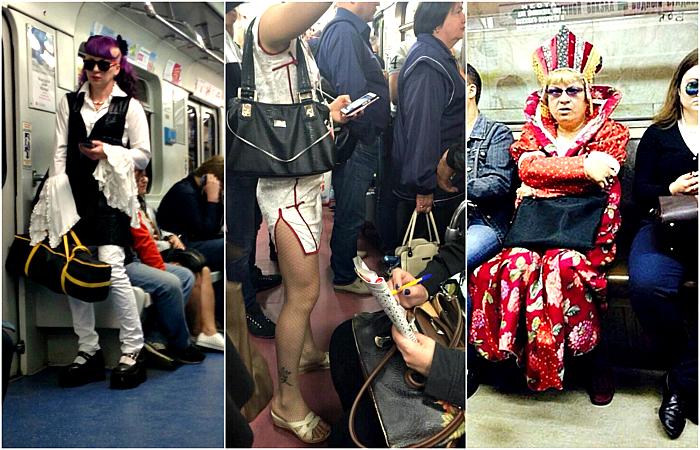 Стильные и модные пассажиры метро.