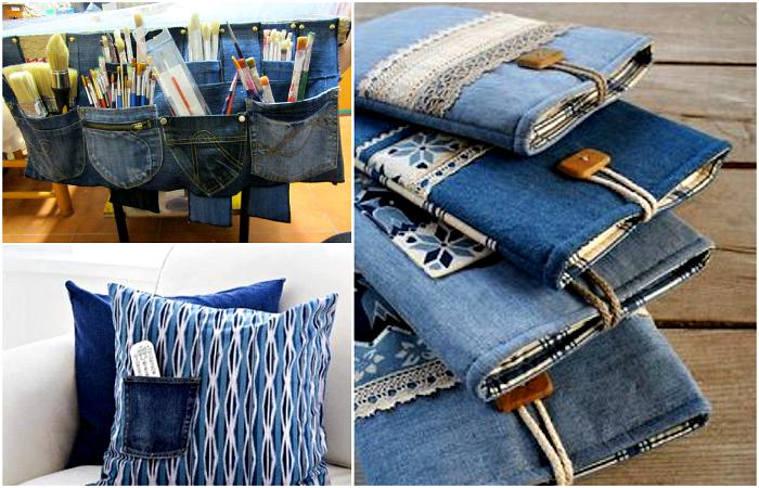 Крутые поделки из ненужных джинсовых вещей.