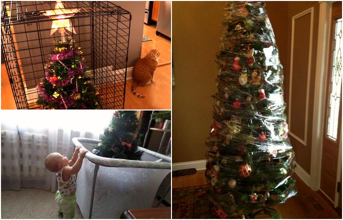 Находчивые люди, которые нашли способы защитить свои новогодние елки от животных и детей.