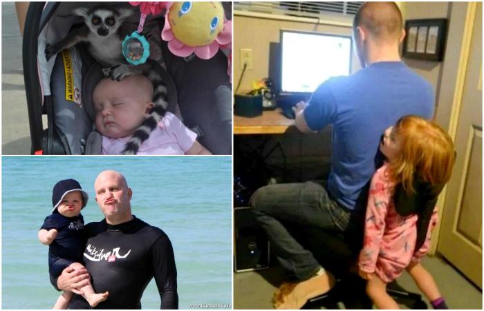 Странные ситуации, которые происходит когда дети остаются с папами.