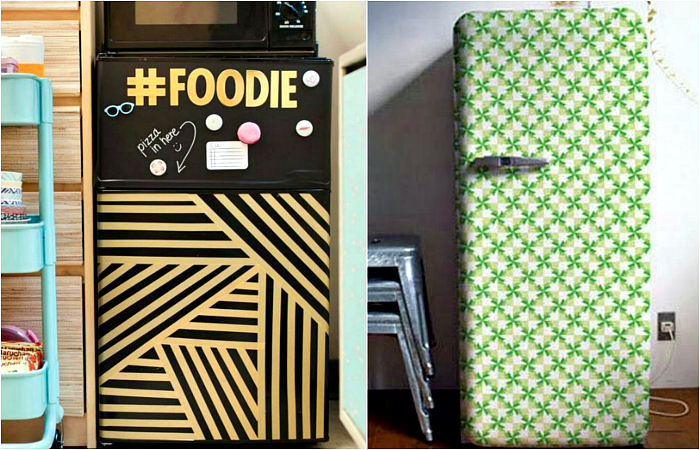 Яркие идеи для преображения скучного холодильника.