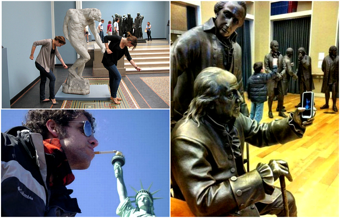 Люди, которые развлекаются со статуями.