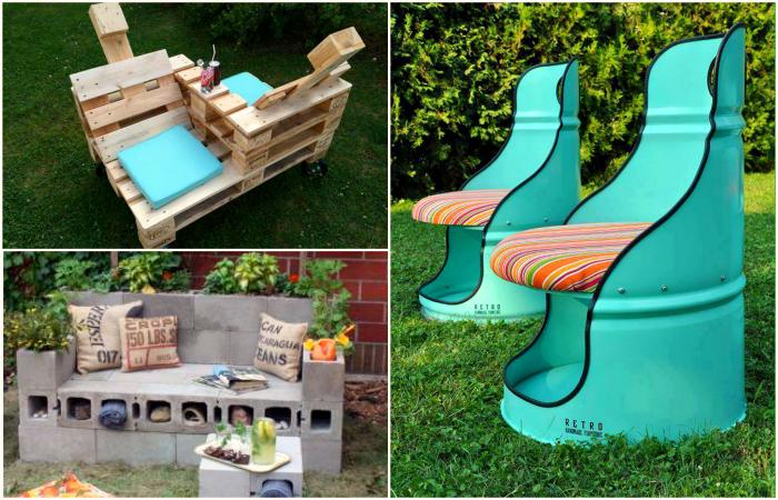 Бюджетная садовая мебель из подручных материалов.