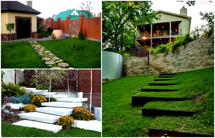 Чудесные варианты лестниц и дорожек для красивого садового участка.
