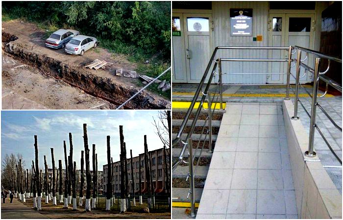 Курьезные снимки о результатах работы строителей и коммунальных служб.