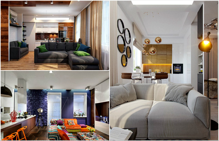 Вдохновляющие интерьеры кухонь, совмещенных с гостиными.