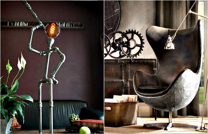 Элементы индустриального стиля в интерьере.