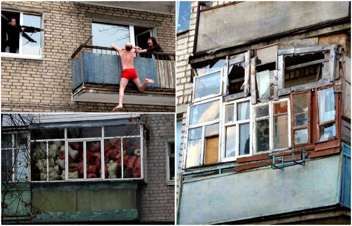 Неповторимые балконы и их содержимое.