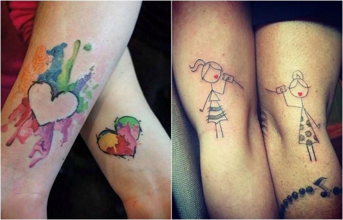 Очаровательные парные татуировки мам и дочерей.