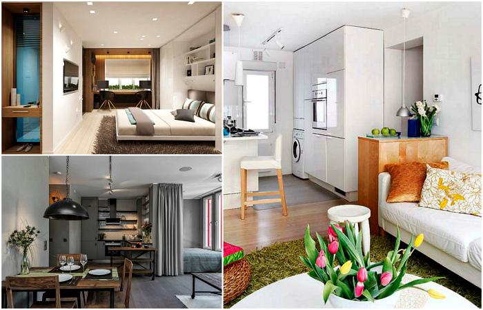 Стильные идеи обустройства однокомнатной квартиры.