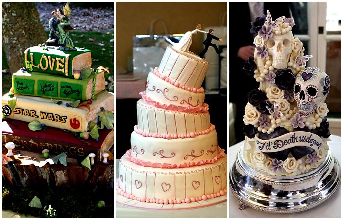 Примеры самых оригинальных свадебных тортов.