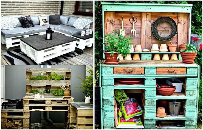 Оригинальная мебель и поделки для сада, которые можно сделать из поддонов.