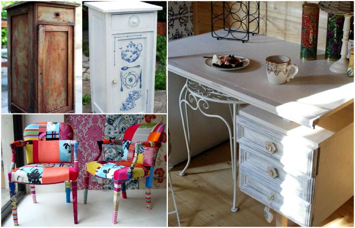 Вдохновляющие идеи переделки и обновления старой мебели.