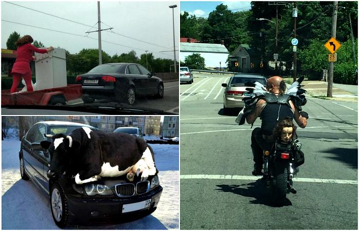 Чудаки и забавные ситуации на дорогах.