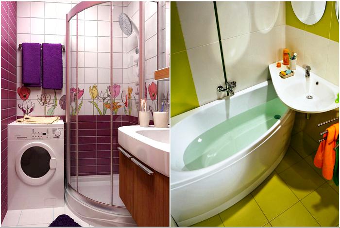 Функциональные идеи оформления маленькой ванны.