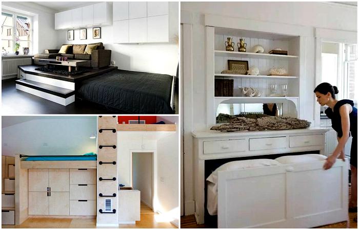 Крутые идеи обустройства спального места в малогабаритной квартире.