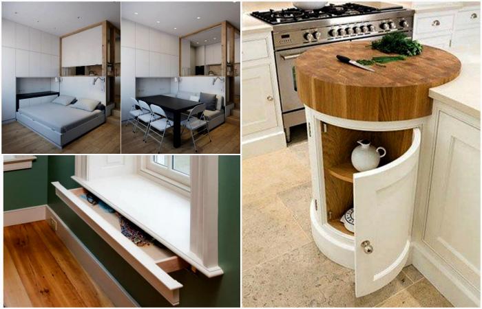 Креативные идеи грамотного использования пространства небольшой квартиры.