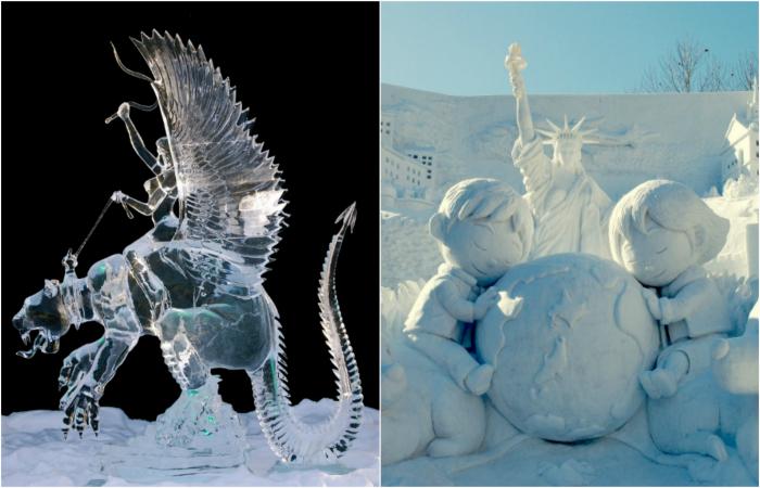 Изумительные скульптуры из льда и снега.