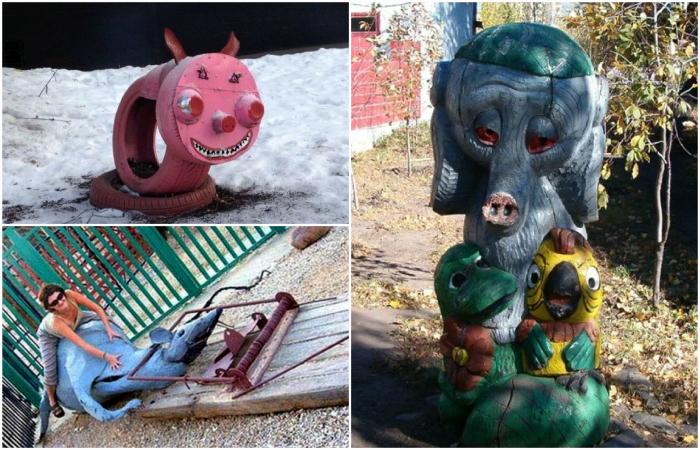 Пугающие декорации на детских площадках.