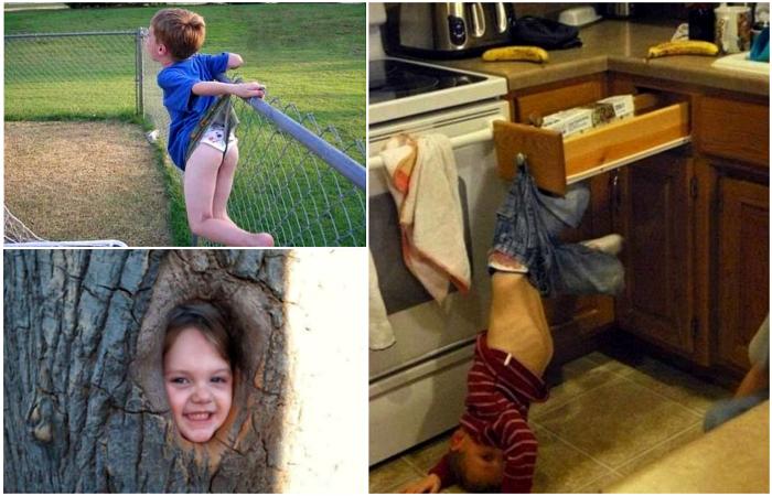Любопытные детишки, застрявшие в неожиданный местах.