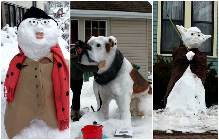Креативные снеговики, которые точно заставят улыбнуться.