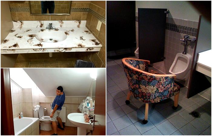 Дизайнерские косяки в ваннах и туалетах.