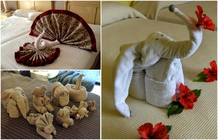 Забавные композиции из полотенец в отельных номерах.