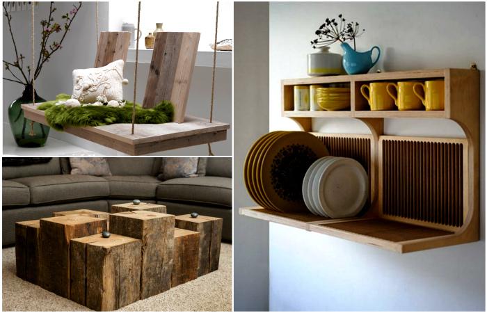 Деревянная мебель и предметы декора для создания теплого и уютного интерьера.