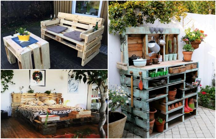 Поделки из деревянных поддонов в интерьере дома и сада.