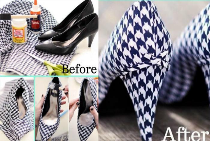 Перетяжка туфель тканью. | Фото: Styleoholic.