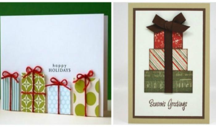 Открытку с подарками можно сделать из цветной бумаги или картона и ленточек.